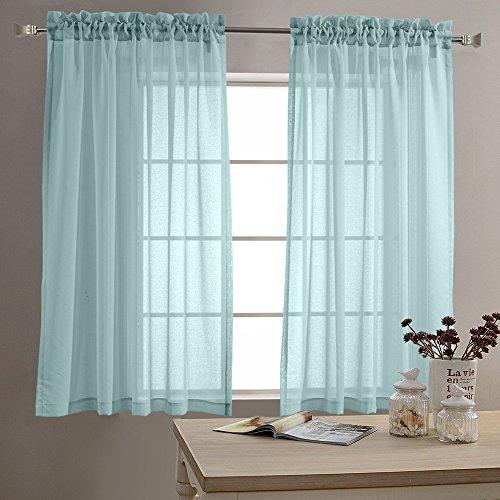 TOPICK Sheer Vorhang mit Stangen Aufhängung transparent Gardine 2 Stücke Gaze paarig schals Fensterschal Vorhänge 160 cm x 140 cm (H x B),2er-Set,Blau