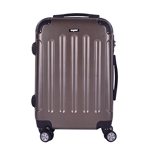 Valise cabine 62cm 58L - Sunydeal - ABS ultra Léger - 4 roues - Café - Garantie de 12 mois