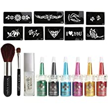 ULTNICE Body Art Glitter Tattoo Kit Powder Temporal Stencil Pattern Set 6 Color