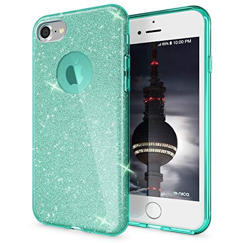 NALIA Hülle kompatibel mit iPhone 8, Glitzer Handyhülle Ultra-Slim Silikon-Case Back-Cover Schutzhülle, Glitter Sparkle Handy-Tasche Bumper, Dünnes Bling Strass Etui, Farbe:Mint Strass Bling Back Case