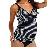 Yvelands Damen Bademode Mutterschaft Tankinis Frauen Gestreifter Sling Print Bikinis Badeanzug Beachwear Schwanger(CN-2XL,Schwarz)