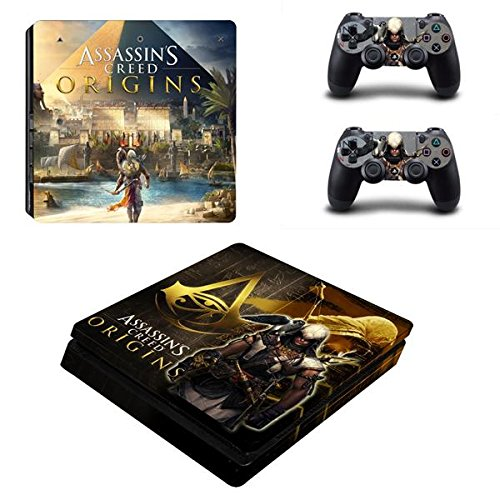 Playstation 4 Slim + 2 Controller Aufkleber Schutzfolien Set - Assassins Creed Origins /PS4 S