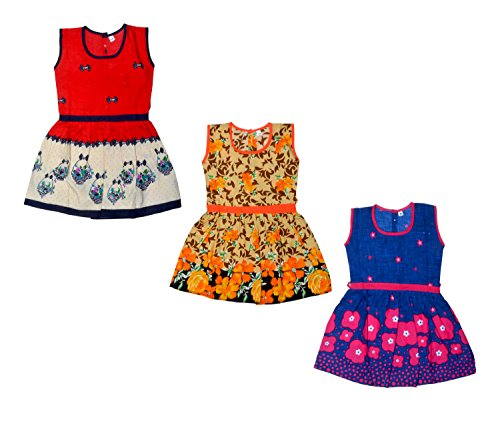Sathiyas Baby Girl's 100% Cotton Frocks (Multicolour, 2-3 Years)- Pack of 3