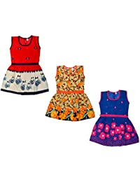 Sathiyas Girls 100% Cotton Frocks (Pack of 3) (asvinf56)