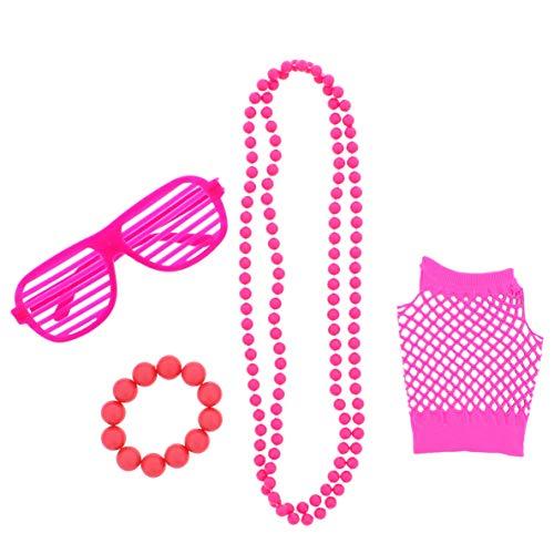 4-Item Unisex Neon Fancy Dress Clubbers Set 80s Dancewear Hen Party Costumes (Clubbing Fancy Dress Kostüm)