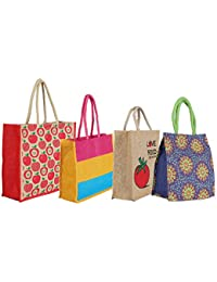CSM Jute Bag/Lunch Bag/Shopping Bag - Combo Of 4 Printed Multipurpose Jute Bags