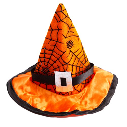 Anladia Mini Hexenhut Haarschmuck Spinnennetz Haarspange Kopfschmuck Masquerade für Kinder-Kostüm zum Fasching, Karneval, Halloween, Orange