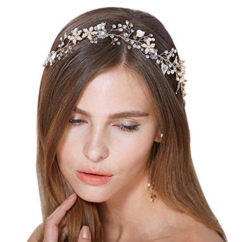 Brautschmuck Vintage Kristall Pearl Vine Haarbänder Hochzeit Haar Zubehör Gold - 2