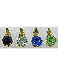 DollsofIndia Four Multicolor Stone Studded Pendants - Stone And Metal (HV53-mod) - Multicolor