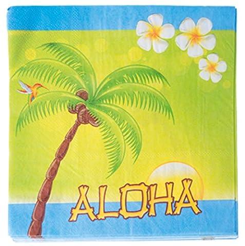 Confettery - Party Dekoration Servietten Aloha Hawaii Insel Palme 20 Stück- 33x33 cm, Mehrfarbig