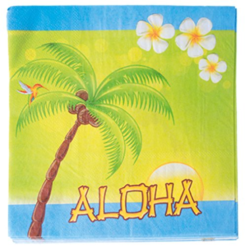 Party Palast - Party Dekoration Servietten Aloha Hawaii Insel Palme 20 Stück- 33x33 cm, - Obst-teller-halloween-party
