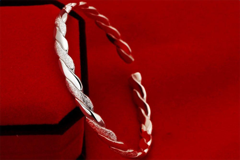 Demarkt Pulsera Abierta Entrelazada de Plata Pulsera de Plata de Ley 925, Estilo Boho, para Mujer 1PCS 5