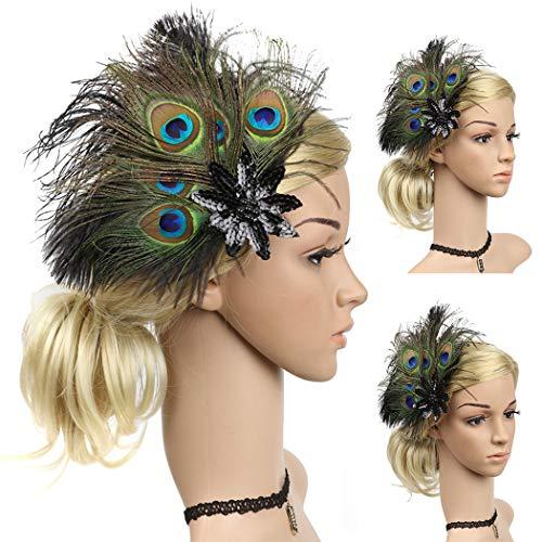 Zoylink Flapper Kopfstück Vintage Headpiece Künstliche Pfau Party Haarspange für Frauen