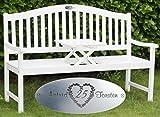 Geschenke 24 Silberhochzeitsbank (Weiß) mit Gravur im Landhausstil Eukalyptus - gravierte Bank für Garten, Terrasse & Balkon - Gartenbank zum 25. Hochzeitstag