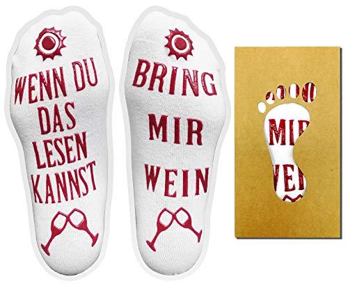 iZoeL Witzige Wein Socken Wenn Du Das Lesen Kannst Wein Geschenk für Weinliebhaber Weihnachten Valentinstag Geschenkidee