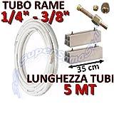 """Kit montaggio condizionatore - 5mt rame 1/4"""" + 3/8"""" con basi per unità esterna lunghezza 35cm"""