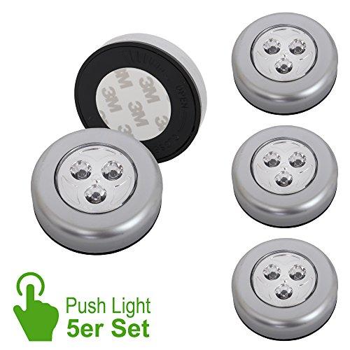 Touch-lampen (Briloner Leuchten - 5er Set Stick&Push LED Touch Lampe, batteriebetrieben, Nachtlicht selbstklebend (3M Markenkleber), Küchenlampen, Schrankleuchten)
