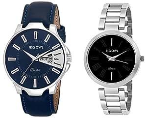 Bigowl Wrist Watch Couple Combo for Men and Women MEN04-WOMEN07