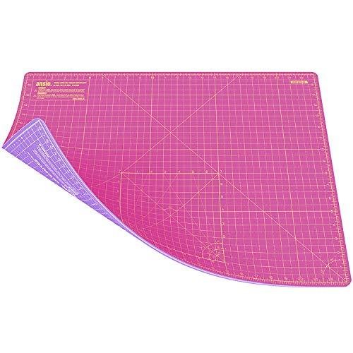 ANSIO Schneidematte Selbstheilende A2 Doppelseitige 5 Schichten sassend für Kunst, Nähen - Imperial/Metric 22.5 x 17 Zoll / 59 x 44 cm - Super Rosa/Lavendel Lila