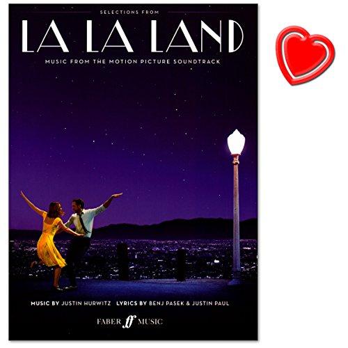 La La Land–Sound Track en le Nouveau Oscar Meilleur Film 2017–pour Piano, Chant et Guitare–Note livre avec cœur Note colorée Pince