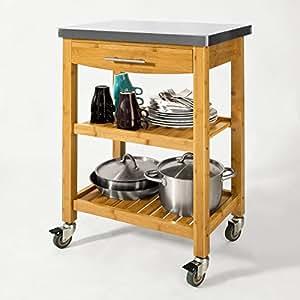 SoBuy® FKW28-N Chariot de cuisine de service roulant, Desserte sur roulettes en bambou, Etagère de la cuisine, Plateau en Acier Inox L58xP40xH87cm (naturel)