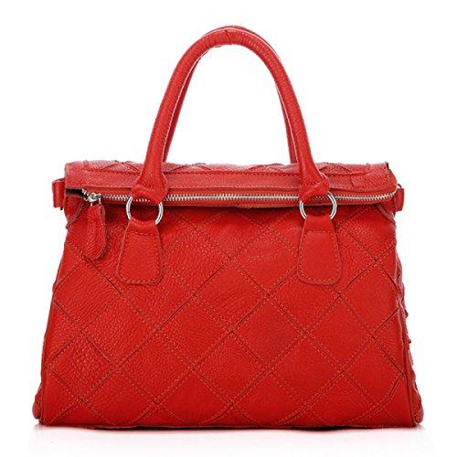ZPFME Frauen Handtasche Nähen Rindsleder Damen Tasche Umhängetasche Mädchen Party Retro Damen Mode Handtasche Messenger Bag Red
