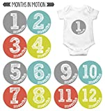 Months in Motion Monthly Baby Stickers Baby Boy or Baby Girl Milestone Sticker (1128)