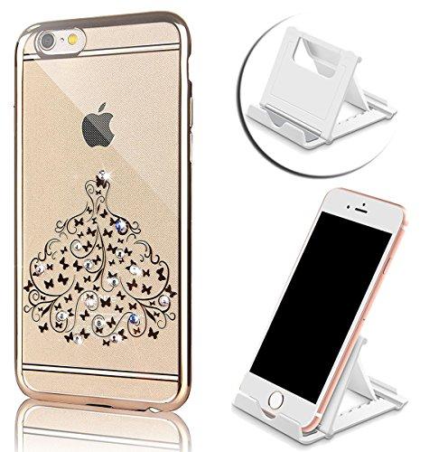 iPhone 6s Plus Hülle, iPhone 6 Plus Hülle, Vandot Ultra Thin TPU Silikon Schutzhülle für iPhone 6s Plus / 6 Plus Case Cover Plating Glänzend Transparent Luxus Diamant Rhinestone Bling Muster Pattern T Color 2