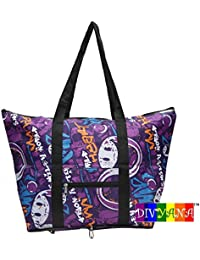 DIVYANA™ Travel Tote Hand Bag Foldable Bag - Multi Purpose Bag (Multicolour) - (Color & Print May Vary As Per... - B078MMW18T