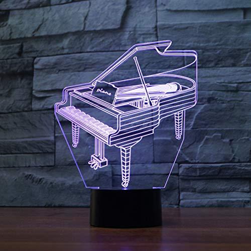 Neue Lampe des Klavier-3D bunte Note führte Sichtlicht-Geschenk-Dekoration-3D-Leuchten-Neuheit-Usb geführte geführte Nachtlicht