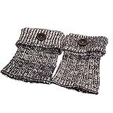 Vovotrade ❤❤ 1 Paar-Frauen-Retro Knopf-Häkelarbeit strickte Strumpf-Bein-Plüsch-Abdeckungs-Knopf-Ordnungs-Socken (Schwarz)