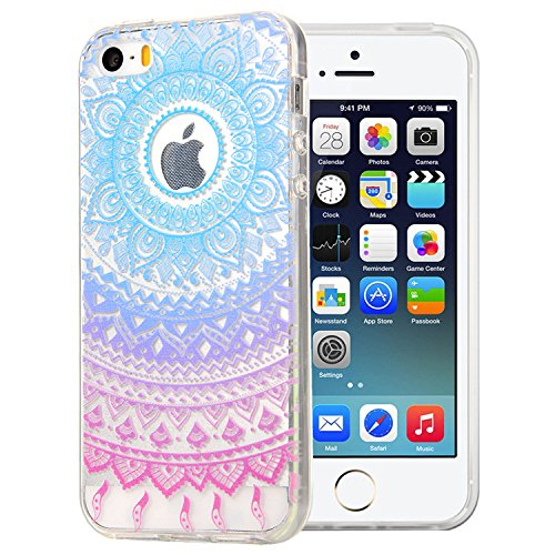 JIAXIUFEN TPU Coque - pour Apple iPhone 5 5S SE Silicone Étui Housse Protecteur - Blue Purple Tribal Mandala