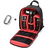 Malloom® Mochila Para Cámara Réflex Digital Bolsa caso Impermeable para Canon /Nikon /Sony (rojo +mosquetón)