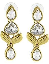 The Jewelbox Designer American Daimonds Kundan Gold Plated Drop Earring For Women