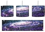 Spiralgalaxie im Weltall Kunst Pinsel Effekt inkl. Lampenfassung E27, Lampe mit Motivdruck, tolle Deckenlampe, Hängelampe, Pendelleuchte - Durchmesser 30cm - Dekoration mit Licht ideal für Wohnzimmer, Kinderzimmer, Schlafzimmer