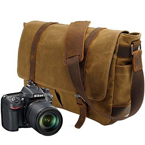 Neuleben Vintage Wasserdicht Kameratasche Aktentasche herausnehmbar Kamerafach Canvas Leder Umhängetasche Fototasche für DSLR Objektiv Laptopfach (Braun)