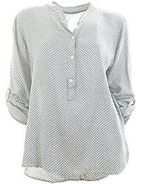 Damen Bluse Tunika Longbluse mit Punkten Rauten Flowers Lässige Bluse  Fischerhemd Polka Dots f697c824b2