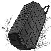 ToHayie Bluetooth Lautsprecher Wasserdicht,IPX6 Outdoor Tragbarer Lautsprecher,Mobiler Bluetooth 4.2 Lautsprecher,1000mAh Akku, Mikrofon für iPhone, iPad, Samsung, Nexus, HTC und Andere Bluetooth-Geräte , AUX USB (Matt-Schwarz)