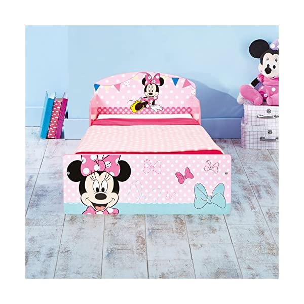 Disney Minnie Mouse Kids Toddler Bed by HelloHome  Sleep sweetly with this Minnie Mouse Toddler Bed Perfect size for toddlers, low to the ground with protective and sturdy side guards to keep your little one safe and snug Fits a standard cot bed mattress size 140cm x 70cm, mattress not included. Part of the Minnie Mouse bedroom furniture range from Hello Home 5
