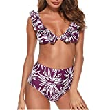 3fd0ee67e4f2d2 JMETRIC Lässige Mode Blumendruck Damen Schlauch Top Split Einfarbig  Badeanzug Bikini Set(Violett