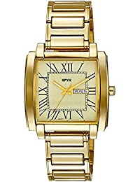 SPYN Roman Digit Square IGP Gold Plated Day and Date Luxury Men's Watch