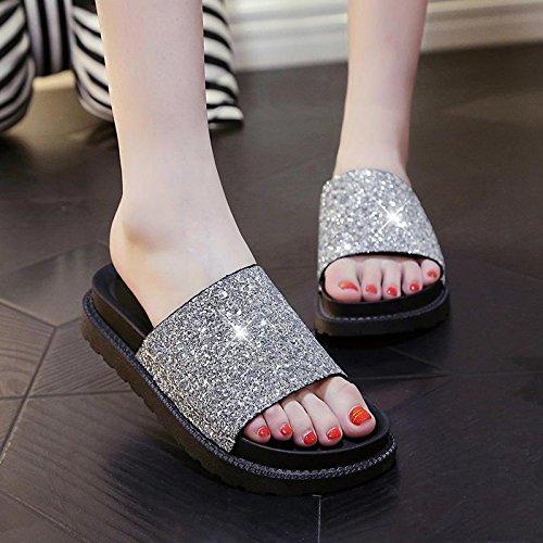 LvYuan Damen Sommer Hausschuhe / Komfort Lässige Mode / Pailletten / Plattformen / Sandalen / Strand Schuhe Silver