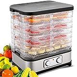 Dörrautomat Dehydrator mit digitaler Temperaturregelung für D.I.Y Gesunde Snacks mit 8 abnehmbaren Dörrgittern BPA-frei (8 Etagen/400W)