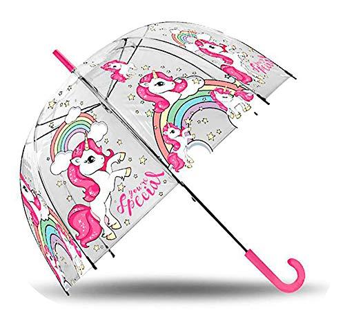 Unicornio Paraguas transparente de Burbuja manual