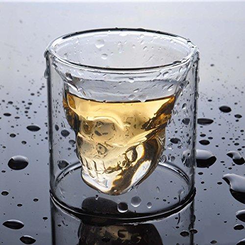 Hwagui Tasse Double Paroi Verre Whisky et la Bière pour Bar et Fête 100ml/10cl