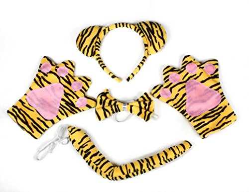 Petitebelle Tiger Headband Bowtie Glove 4pc Halloween Party Costume for Children (Orange)