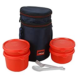 Jaypee plus Multidecker 4 Executive lunch box with bag, 4 pieces, Red