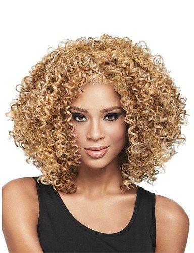 Perruque & xzl Perruques Fashion nouvelle glueless mélange blond profonde de la mode des femmes bouclés courte perruque de cheveux pour les afro-américaine