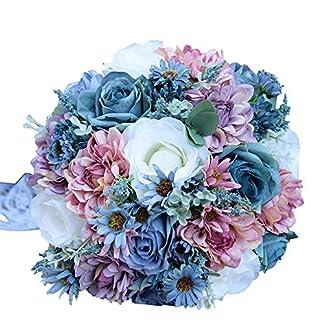 Ramo de novia Azul / blanco / rosa Rosa Novia Boda Mano Ramo Dama de honor con flores artificiales, Casa solariega, Sol, Decoración de fiesta Rosa Artificial Dalia Margarita Margarita Novia Dama para