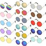 Fiada 16 Paia Occhiali da Sole Hippy Tondi Colorati Occhiali da Sole Hippy di Stile Anni 60 Occhiali da Cerchio Stile per Bomboniere